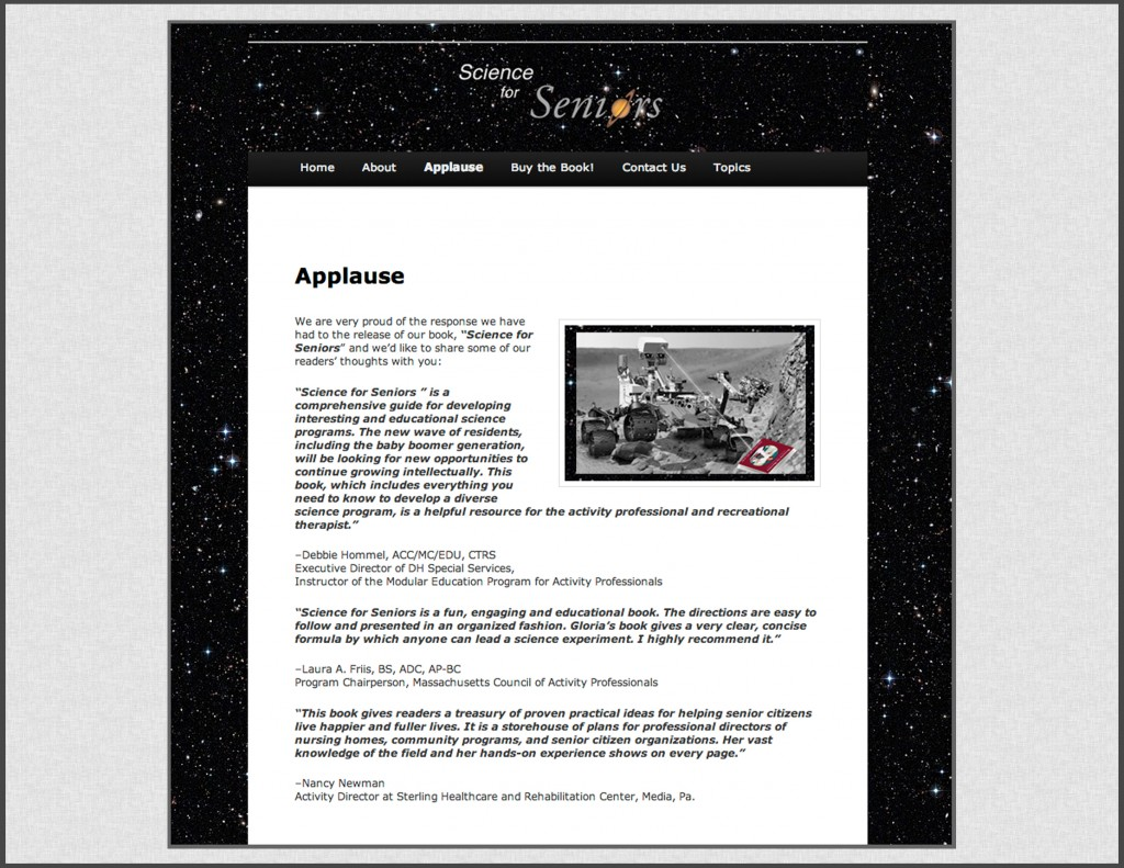 A page from Science for Seniors, a website we designed for Gloria Hoffner